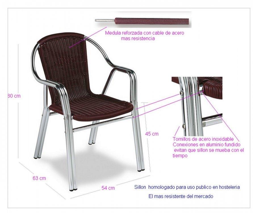 sillas y mesas aluminio terraza hosteleria apilables