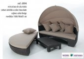 AG.6994 Cama sofa chill out rattan chocolate cojines color beige