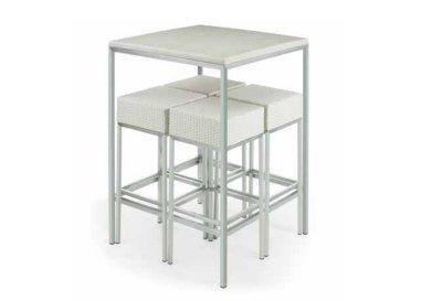 4 taburetes mas 1 mesa alta en acero inoxidable mobel hispania mobiliario - Mesa alta con taburetes ...