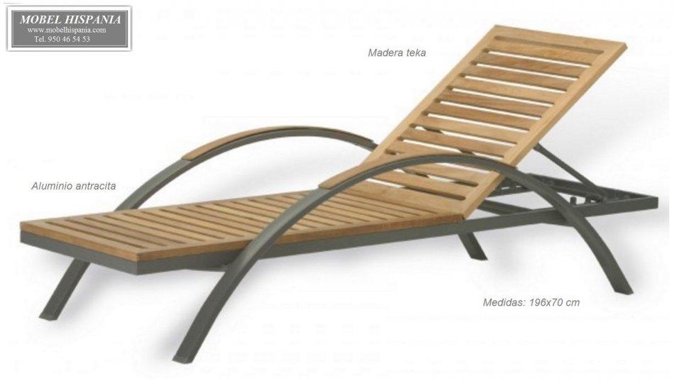 ag63245 tumbona aluminio antracita madera teka - Tumbonas Madera