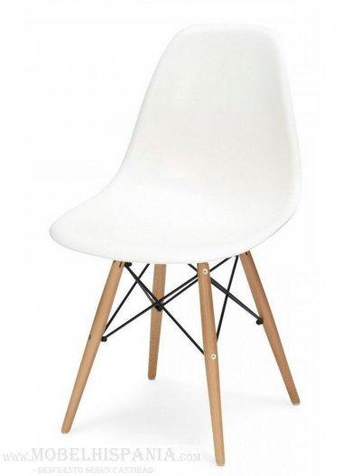 Eames blanca silla en pp polipropileno y patas madera for Silla blanca patas madera
