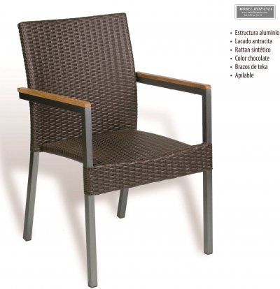 AG.6304 Sillon aluminio antracita rattan chocolate apilable