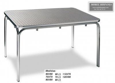 Mesa aluminio tablero inox terraza hosteleria 93 - Mesa terraza plegable ...