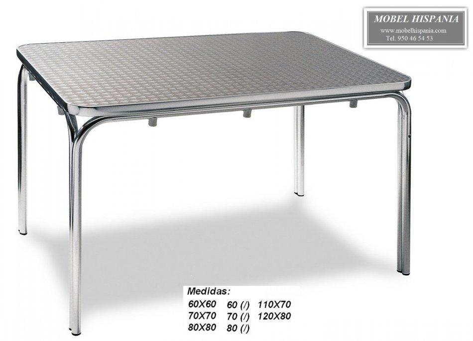 Ag 1549 Mesa Aluminio Tablero Inox Terraza Hosteleria