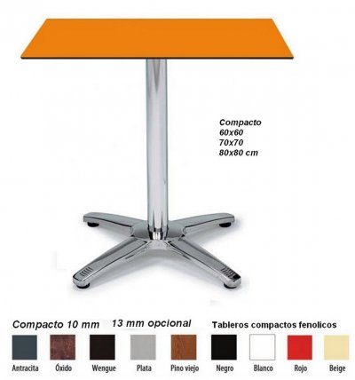AG 1927 Mesa aluminio pie central tablero Compacto